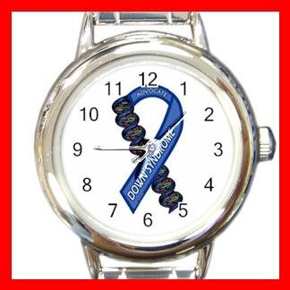 DOWN SYNDROME AWARENESS Round Italian Charm Wrist Watch