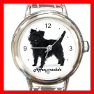 Cute Affenpinscher Pet Dog Animal  Round Italian Charm Wrist Watch