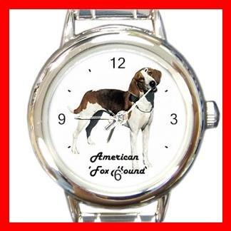 Cute American Fox Hound Pet Dog Animal Round Italian Charm Wrist Watch