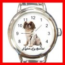 Cute English Toy Spaniel Pet Dog Animal Round Italian Charm Wrist Watch