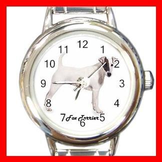 Cute Fox Terrier Pet Dog Animal Round Italian Charm Wrist Watch