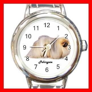Cute Pekingese Pet Dog Animal Round Italian Charm Wrist Watch 502