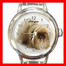 Cute Pekingese Pet Dog Animal Round Italian Charm Wrist Watch 503