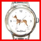 Cute Ibizan Hound Pet Dog Animal Round Italian Charm Wrist Watch 512
