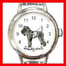 Cute Kerry Blue Terrier Pet Dog Animal Round Italian Charm Wrist Watch 513