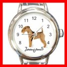 Cute Lakeland Terrier Pet Dog Animal Round Italian Charm Wrist Watch 514