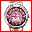 Pink Wicca Pentagram Pentacle Round Italian Charm Wrist Watch 522