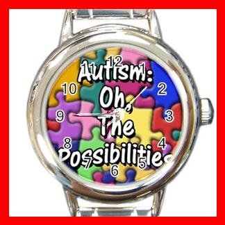 AUTISM Awareness Health Kids Round Italian Charm Wrist Watch 530