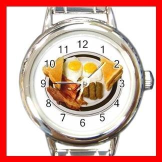 Fresh Bacon Eggs Breakfast Food Round Italian Charm Wrist Watch 533