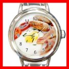 Fresh Bacon Eggs Breakfast Food Round Italian Charm Wrist Watch 534