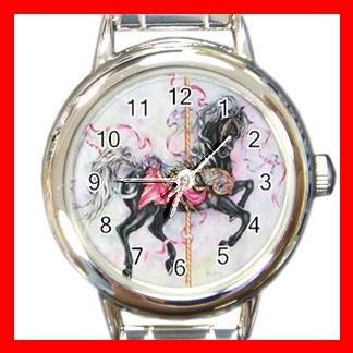 BLACK CAROUSEL HORSE Play Kids Round Italian Charm Wrist Watch 535