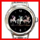 CAROUSEL HORSE Play Kids Round Italian Charm Wrist Watch 537