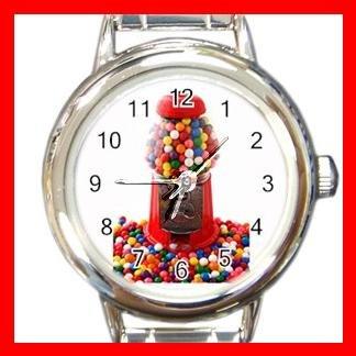 COLOR GUMBALLS GUMBALL MACHINE Candy Kids Round Italian Charm Wrist Watch 538