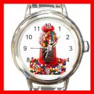 COLOR GUMBALLS GUMBALL MACHINE Candy Kids Round Italian Charm Wrist Watch 538