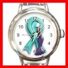 OVARIAN CANCER RIBBON Round Italian Charm Wrist Watch 542