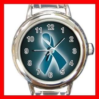 OVARIAN CANCER RIBBON Round Italian Charm Wrist Watch 543