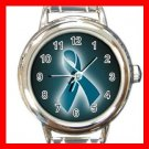 OVARIAN CANCER RIBBON Round Italian Charm Wrist Watch 543