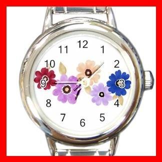 Colorful Daisy Flowers Round Italian Charm Wrist Watch 547
