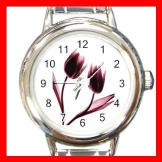 Dancing Tulips Flowers Round Italian Charm Wrist Watch 548