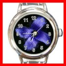 Fringed Gentian Flowers Round Italian Charm Wrist Watch 550