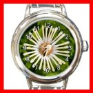 Whirligig Daisy Flowers Round Italian Charm Wrist Watch 552