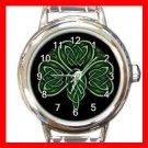 CELTIC IRISH SHAMROCK Round Italian Charm Wrist Watch 553