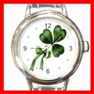 CELTIC IRISH SHAMROCK Round Italian Charm Wrist Watch 554