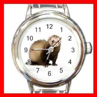 Cute Ferret Pet Animal Round Italian Charm Wrist Watch 557