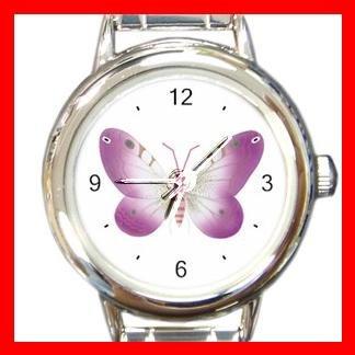PINK BUTTERFLIES Fly Round Italian Charm Wrist Watch 559