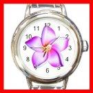 PINK FRANGIPANI Flowers Round Italian Charm Wrist Watch 560