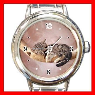 Kitten Sleeping Cat Pet Animals Hobby Round Italian Charm Wrist Watch 564