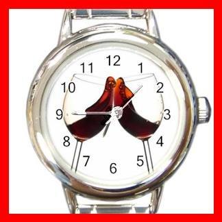Red Wine Glass Hobby Round Italian Charm Wrist Watch 566
