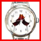 Red Wine Glass Hobby Round Italian Charm Wrist Watch 566