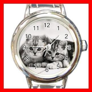 Two Kittens Cats Pet Animals Round Italian Charm Wrist Watch 567