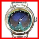 Peacock Feather Print Round Italian Charm Wrist Watch 571