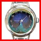 Peacock Feather Print Round Italian Charm Wrist Watch 571