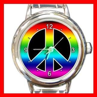 RAINBOW PEACE SIGN Round Italian Charm Wrist Watch 572