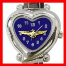 Blue Naval Aviator Wings Amy Heart Italian Charm Wrist Watch 152
