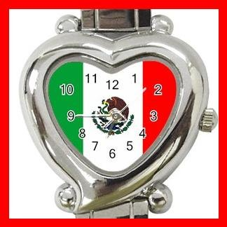 Mexican Flag Nation Patriotic Heart Italian Charm Wrist Watch 158