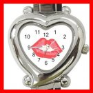 Kiss Me Red Lips Heart Italian Charm Wrist Watch 160