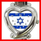 New Israel Flag Nation Patriotic Heart Italian Charm Wrist Watch 161