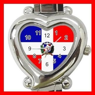 New Dominican Republic Flag Nation Patriotic Heart Italian Charm Wrist Watch 162