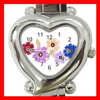 Colorful Daisy Flowers Heart Italian Charm Wrist Watch 167