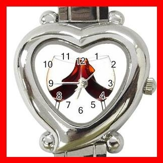 Red Wine Glass Heart Italian Charm Wrist Watch 176