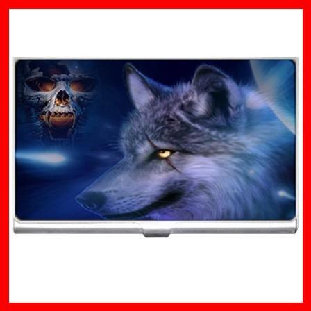 Wolf Wild Animal Skull Hobby Business Credit Card Case 27