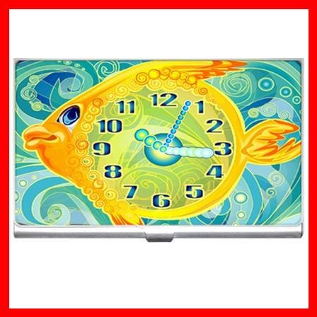 Gold Golden Fish Clock Hobby Business Credit Card Case 37