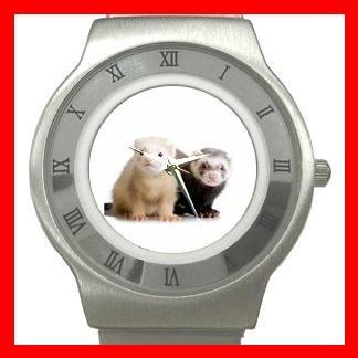 Cute Ferret Pet Animals Stainless Steel Wrist Watch Unisex 141