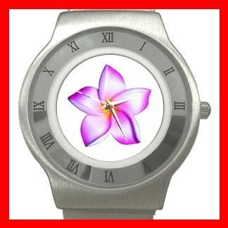 PINK FRANGIPANI Flowers Stainless Steel Wrist Watch Unisex 142