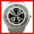 IRON CROSS SIGN SYMBOL SKULL Steel Wrist Watch Unisex 144