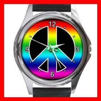 RAINBOW PEACE SIGN Hobby Round Metal Wrist Watch Unisex 149